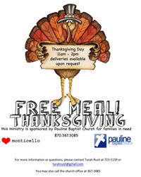 Free Thanksgiving Meal At Pauline Baptist