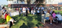 "Approximatly 75 braved the summer heat to be a part of ""the City Square's"" dedication."