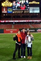Kelley Rasco & friends at Busch Stadium, after the Cardinals win the World Series.