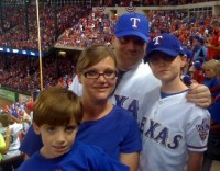 Chris, Wendy, Carson and Cam Ray at Game 6 of the ALCS in Arlington, where the Rangers clinched their spot in the World Series.
