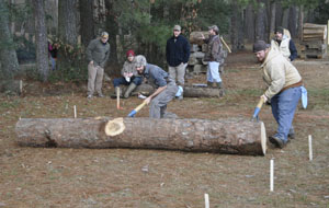Blaine Culwell (left) and Cody Cormier compete in the log roll.