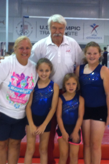 Ms. Mary Ramsey, Bela Karolyi, Maddie Searcy, Grace Murphy, and Grace West.