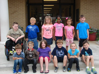 DC First Grade Star Student of the Month for September       Back Row from Left: Christopher Curtis, Christopher Veasey, Avy Pruitt, Jayla Thompson, Bailey Chapman, Blaine Hayden Front Row from Left: Nicky Groce, Josh Trantham, Jansen Brock, Eli Hampton, Ana Clare Muniz, Blaine Adcock