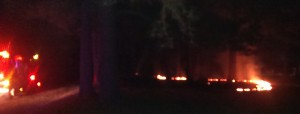 Controlled burn on Old Wilmar Road, as seen by traffic at 10 PM, Tuesday
