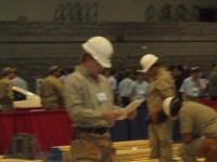 Cole Wilkerson competing in Carpentry