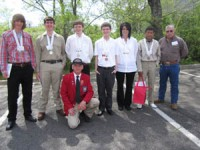 Medal Winners at competition with teachers from left to right:  Chris Halley, Trey Busch, Michael Harris, Brandon Ashcraft, Kelly Griffin, Jose Ambrocia, Ricky Kulbeth, and Darrell McDaniel (kneeling).