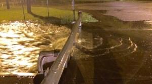 Western Pines Park Bridge, Water coming over Bridge.
