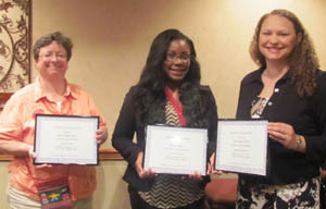 Literacy Winners:  (L to R)   Judy Kunkle accepting for Hales Repair Service  Community Award; Titiana Brown  Educator Award; and Alicia Ratliff for Drew Central PTO Agency  Award