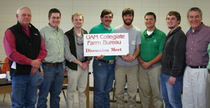 Pictured from left are Clayton Stephens and Trent Scogin of Drew County Farm Bureau Insurance, UAM students Nathan Bailey, John Erickson, Justin Calhoun, Jake Helsley, John Erickson, and Justin Bailey, and Harry Willems of the Arkansas Farm Bureau.