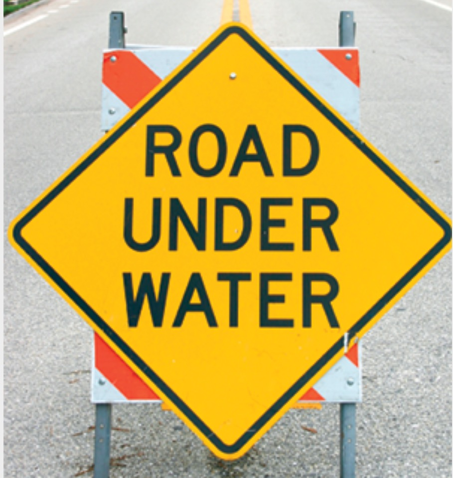 Road closed under water