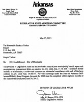 May 2015 letter to Mayor Zack Tucker, over past due city audits.