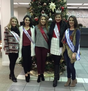 Christmas parade judges included Miss Pink Tomato, Miss Lake Chicot, Miss Owlfest, Miss Drew County, and Miss Lincoln County