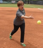 Chancelor Hughes throwing out 1st pitch