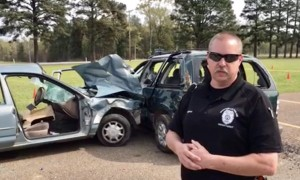 Wesson,  explaining the scene of a Snapchat/text based car crash mock fatality, performed for MHS students in May.