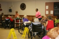 Some of the residents at the Woods playing bingo