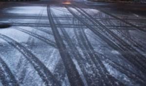 Slick ice roads frozen weather