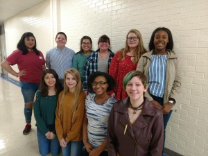 Jazmine Granados, Kyla Morphis, Aileen Rivera, Lily Sadler, Kelby Smith, and Jada Trotter. Bottom Row: Jennifer Santos, Hope Burmeister, Makalah Lattimore, Shelby Orrell. Shelby is currently the Art Club President. Not Pictured: Jacob Watts and Jehlyn Porch