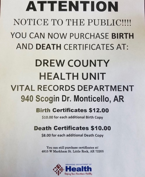 Birth & Death Certificates Now Available at Drew County Health Dept