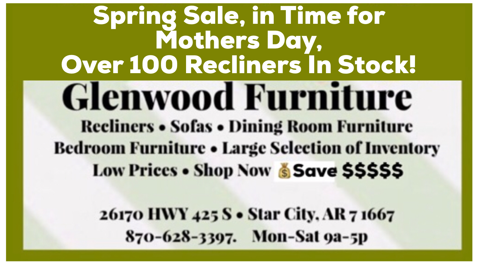 Glenwood spring Mother's Day furniture