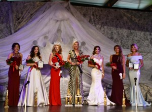 From L to R: Dixie Morrison- 2nd Runner up and Sportswear winner for Jr Miss Drew County Katie Caveness-1st Runner Up, interview winner (tie) and People's Choice award for Jr Miss Drew County Kelli Jo Stain-2018 Jr Miss Drew County and Interview winner (tie) Rachel Langley-2018 Miss Drew County, Interview Winner and Swimwear winner. Haley Hill-1st Runner up for Miss Drew County Maddison Arrington-2nd Runner Up for Miss Drew County Anna Kay Wright- Miss Congeniality and People's Choice award for Miss Drew County