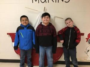 Third Grade:  Left to Right:  Kristian Murillo, Cody Barnett, and Jayden Berry