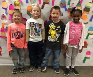 Kindergarten:  Left to right:  Eyan Horn, Drake Hale, Kacyn Rhodes & Taylim Burnett