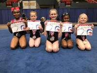 Level 1 Gymnasts: Morgan Moore, Kaylee Garrison, Jaelynn Curry, Azari Marshall, Corbyn Curry