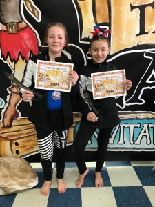 Level 3 Gymnasts Peyton Colwell & Nora Rodriguez (not pictured: Cora & Millie Rambin)