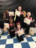 Level 1 Gymnasts- back row from left: Morgan Moore, Jaelynn Curry, Corbyn Curry, and kneeling, Azari Marshall and Kaylee Garrison