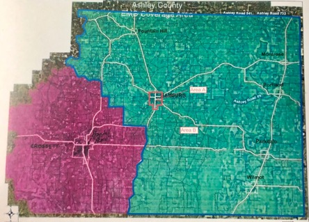 The red box in the center is the Hamburg city limits. The purple shows the area covered by Crossett ambulance. The green area is what will be covered by a Pro-Med.