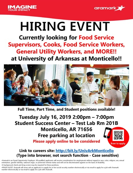 Hiring Event for Aramark – Tuesday | Monticello Live
