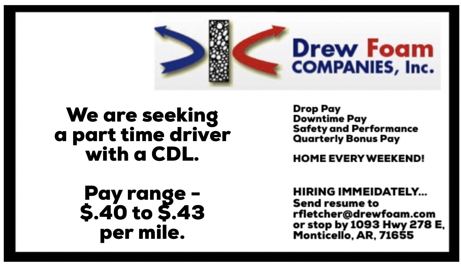 Drew Foam Hiring Part Time CDL Driver | Monticello Live