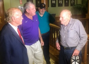 Wiley Ballow is shown being congratulated by friends and fellow veterans, after Wednesday's victory in Circuit Court.