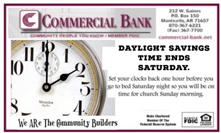 Daylight Savings  Time Ends  Saturday.