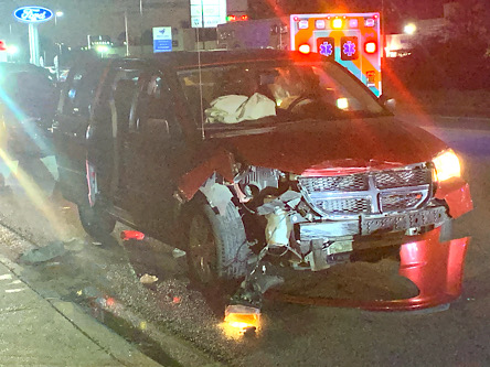 At 5:45, Thursday evening, this Dodge Grand Caravan, traveling north in front of Burger King, collided with the rear of a GMC Sierra pick-up. MASI responded, but the occupant of the Dodge declined medical treatment.