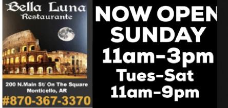 Bella Luna open Sunday