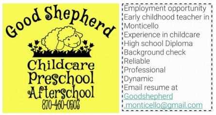 Good Shepherd Daycare Hiring Staff