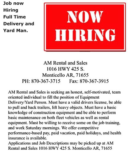 AM Rental Sales Delivery Yard Man